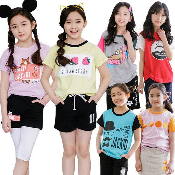 주니어 여아 여름 반팔 티셔츠 초등학생 옷 면티