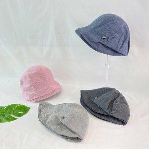 코튼 체크 여성 여름 여자 벙거지 모자