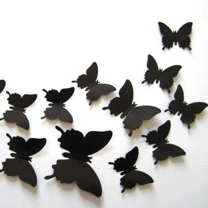 3D 입체 PP 나비 홈 인테리어 데코 스티커 블랙