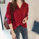 여성 봄 여름 땡땡이셔츠 롱 소매 셔츠 빅사이즈 JY88