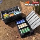 특대용량 몬스터XL 2중 3칸막이 캠핑정리 수납함 블랙