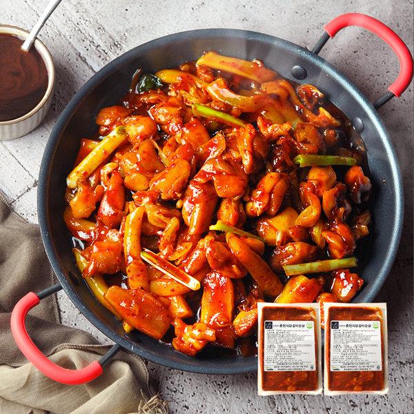 춘천 식 숯불 닭갈비 750g x 2봉 /2세트시 떡사리 증정