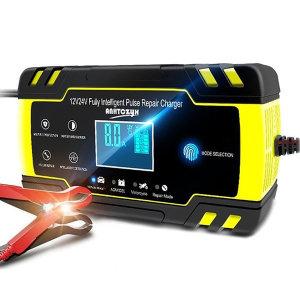 자동차 배터리 충전기 과열 방전 방지 LCD 12V 24V