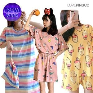 22% 중복할인 여자 잠옷 세트 파자마 홈웨어 원피스