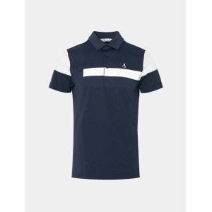 남성 블루 배색 블록 칼라 티셔츠 (BJ0342B19P)