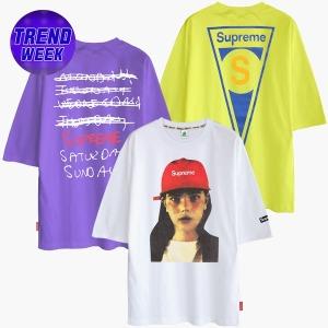 여름 반팔티 티셔츠 오버핏 박스티 남성 여성 박스티