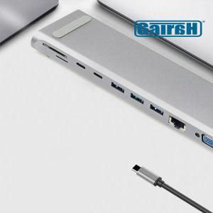 썬더볼트 USB C타입 노트북 12in1 멀티허브 HDMI VGA