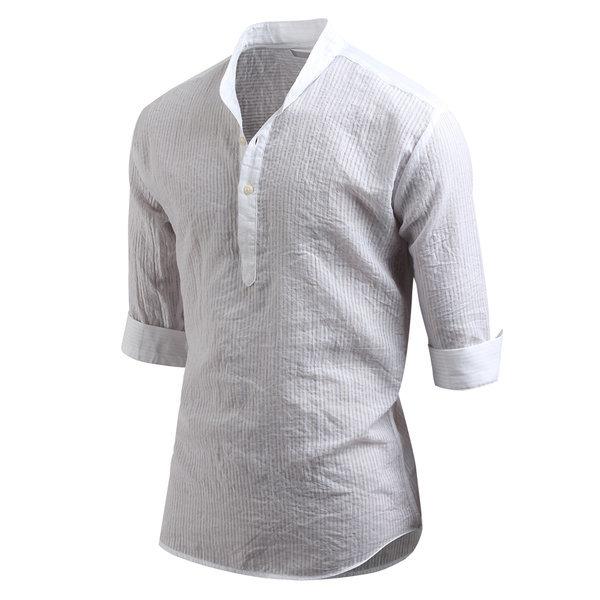 남성 7부 셔츠 썸머 헨리넥 셔츠 남방 _sh2175