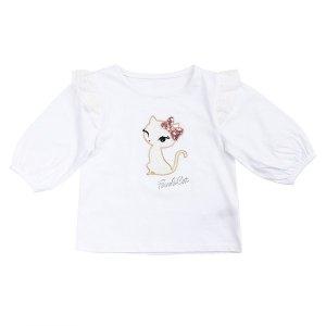 (시흥점)화이트 어깨프릴 7부 티셔츠 (Q92DKT310)