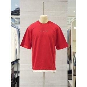 공용 5부 루즈핏 밑단 레이어드 티셔츠 T172TS070P