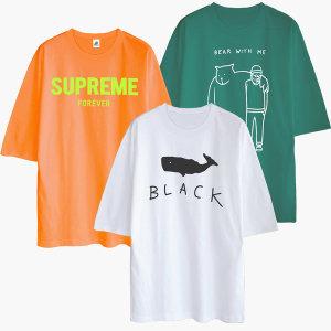 5부 반팔티 티셔츠 오버핏 박스티 남자 남성 여성
