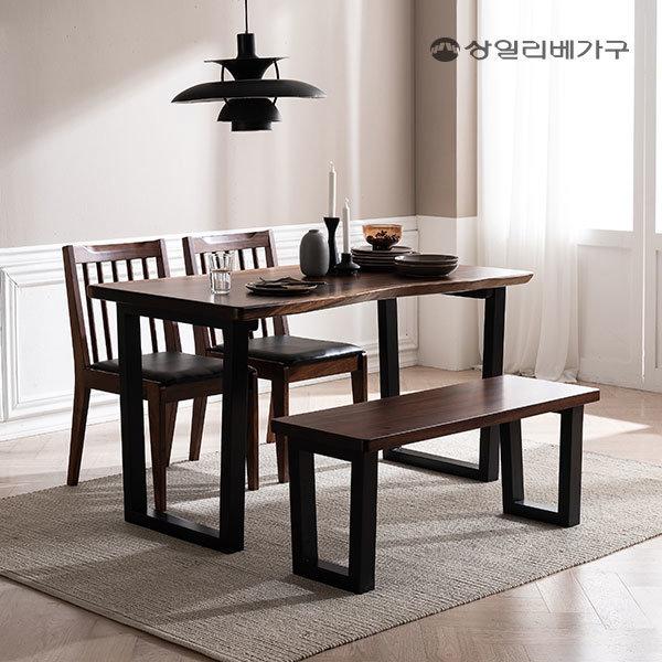 레인트리 우드슬랩 식탁 4인세트 (벤치1 의자2)