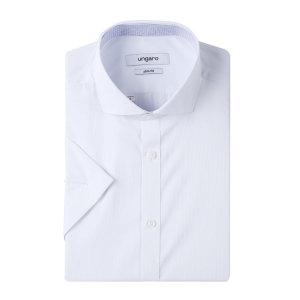 와이드카라 슬림핏 화이트 반소매셔츠 U2CA0DB13-H