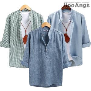여름신상 셔츠/여름셔츠/체크남방/헨리넥/여름코디