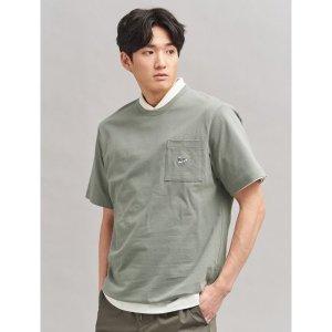 빈폴   GREEN BEANPOLE  Unisex 카키 포켓 라운드넥 티셔츠 (BC0242N02H)