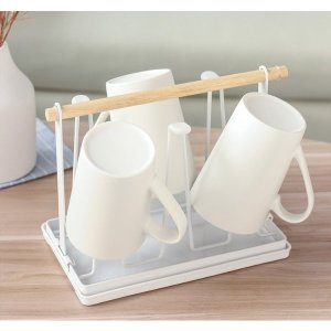 화이트 우드 컵정리대 6P 컵홀더 컵걸이 (물받이포함)