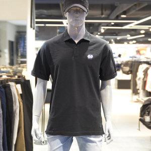 남성용 루즈핏 가슴자수 카라 반팔 티셔츠(B192TS310P)