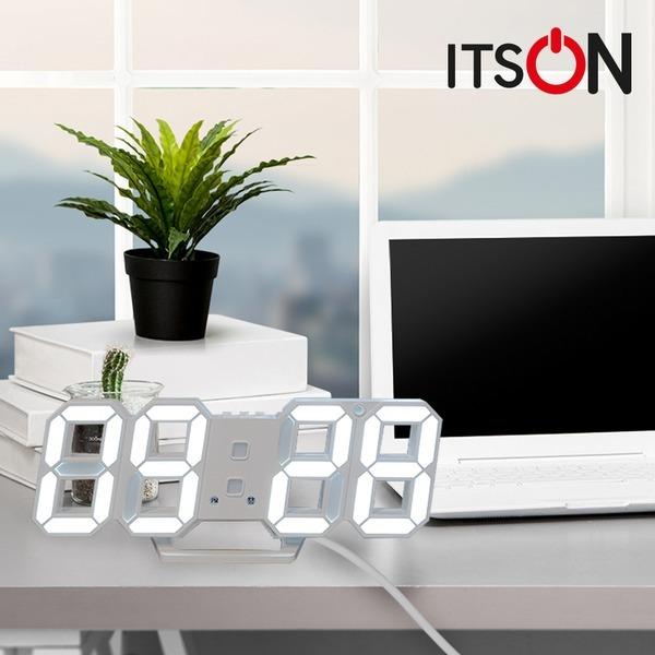 잇츠온 무소음 3D 디지털 LED 시계 탁상 벽걸이