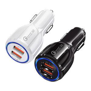 듀얼 차량용 휴대폰 고속 충전기 퀄컴 3.0 화이트