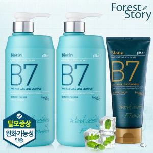B7 약산성 쿨 탈모샴푸 1000ml 2개+200ml / 탈모기능성