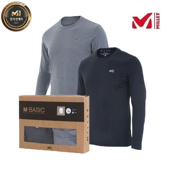 갤러리아  밀레 40%  남성용 긴팔 2PACK 기능성 라운드 티셔츠 MVNFT301
