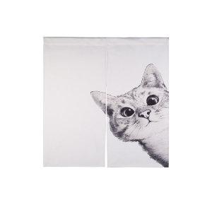 가리개커튼 바란스 거실 창문 커튼 흰 고양이(대)
