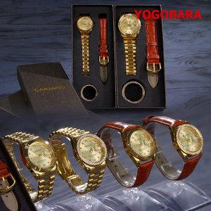 카리아노 24k 금장시계 포인원 손목시계 가죽시계