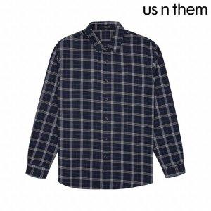 US N THEM 남성 면혼방 체크 패턴 셔츠(TASB206-NA)