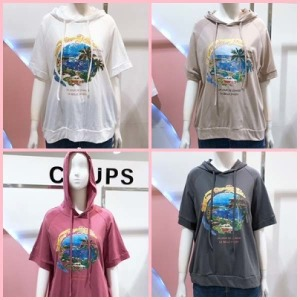 (현대백화점)COUPS.꾸즈 (TL691T1) 라글란 후드 티셔츠