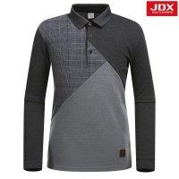 JDX골프스포츠  (남성)절개 체크패턴믹스 요꼬에리티셔츠_X2PWTLM02-MG