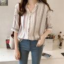 여성 스트라이프 면마셔츠 반팔남방 빅사이즈 JY11