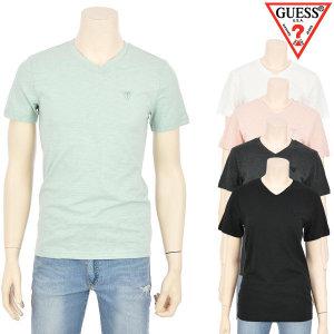 게스  남여공용 미니  V넥 슬럽 반팔 티셔츠(MJ2K9413)