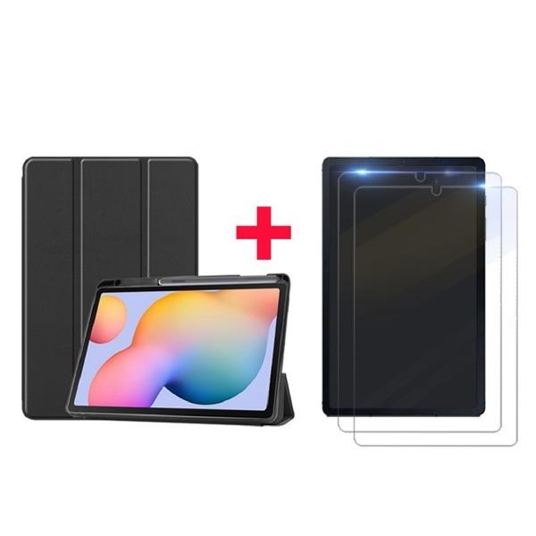 1+2 갤럭시탭S6 라이트 펜수납 케이스+강화유리필름