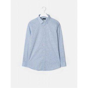 갤럭시 라이프스타일  블루 레귤러핏 히든 버튼 솔리드 셔츠 (GC9164M02P)