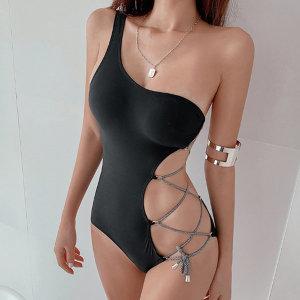 블랙 섹시 옆트임 모노키니 여성 수영복 비치룩