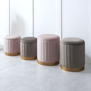 원형 수납 스틸 의자 소형 화장대/보조/홈바/카페의자