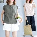 여성 여름 린넨 마 셔츠 민소매 남방 캐주얼셔츠 HT18