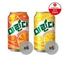 미린다 파인애플 355ml 6캔+오렌지 355ml 6캔
