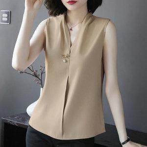 여성 셔츠 블라우스 빅사이즈 민소매 쉬폰 여름 EM49