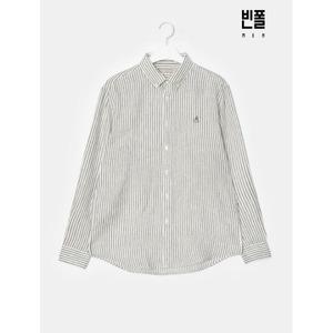 S/S (SLIM) Unisex 카키 리넨 스트라이프 셔츠(BC0364A30H)