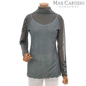 (현대백화점) 막스까르띠지오  슬리브 자수 모크넥 티셔츠