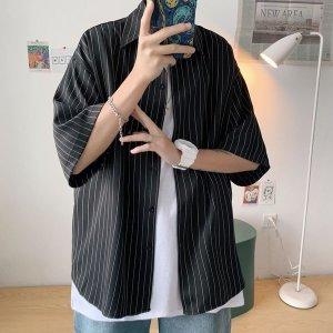 남성 셔츠 반팔 남방 오버핏 스트라이프 여름 em86
