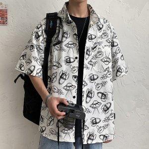 남성 셔츠 남방 반팔 하와이안셔츠 오버핏 여름 em92