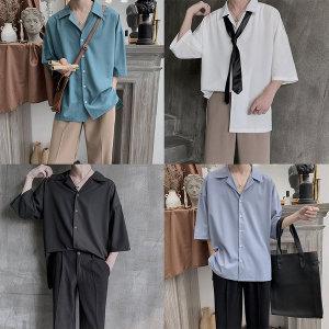 남성 반팔 셔츠 남방 쉬폰 루즈핏 오픈카라 여름 eo18