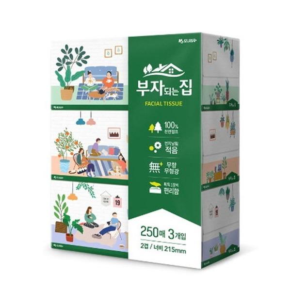 모나리자 부자되는집 각티슈 250매 3개 /미용티슈