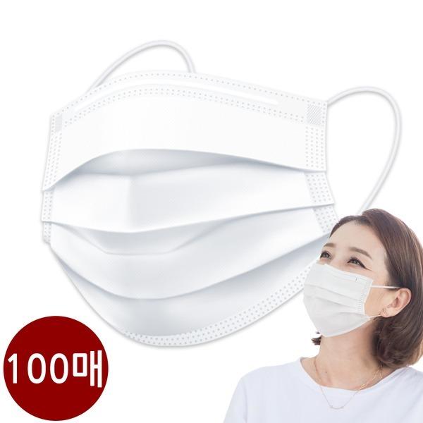 캐치온 일회용 마스크 숨쉬기편한 마스크 흰색 100매a