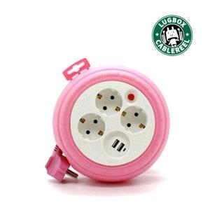 러그박스 3구+USB 2포트 3M 멀티 릴선 핑크