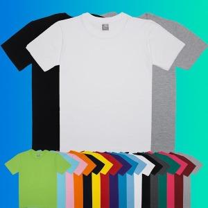 국내생산 무지 라운드 반팔 티셔츠/면티/흰티/단체티