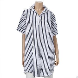 브이넥 스트라이프 셔츠 원피스 (LW2007501)