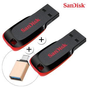 샌디스크 크루저블레이드 USB 32GB+32GB+CType젠더 - 상품 이미지